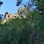 La salita nel bosco verso il Castello della Pietra