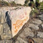 Pietra con graffiti al bivio Santa Croce - Pieve